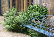 Match garden seat with painted house details and plant ferns and ivy to help it blend in